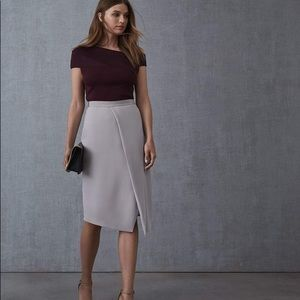 Reiss Sidney Satin Wrap Pencil skirt